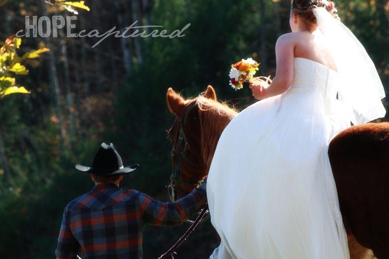 Bride-on-horse