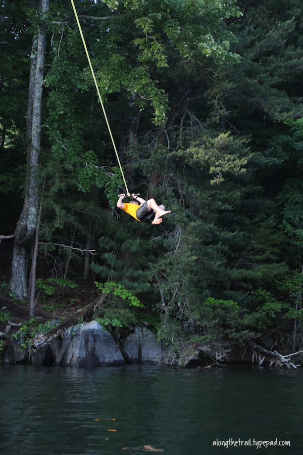 Lake rope swing
