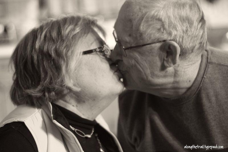 Grampa kissing