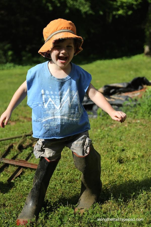 Garden Boy in boots